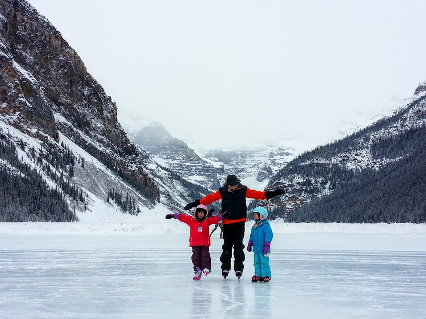 ice skating at lake louise banff national park