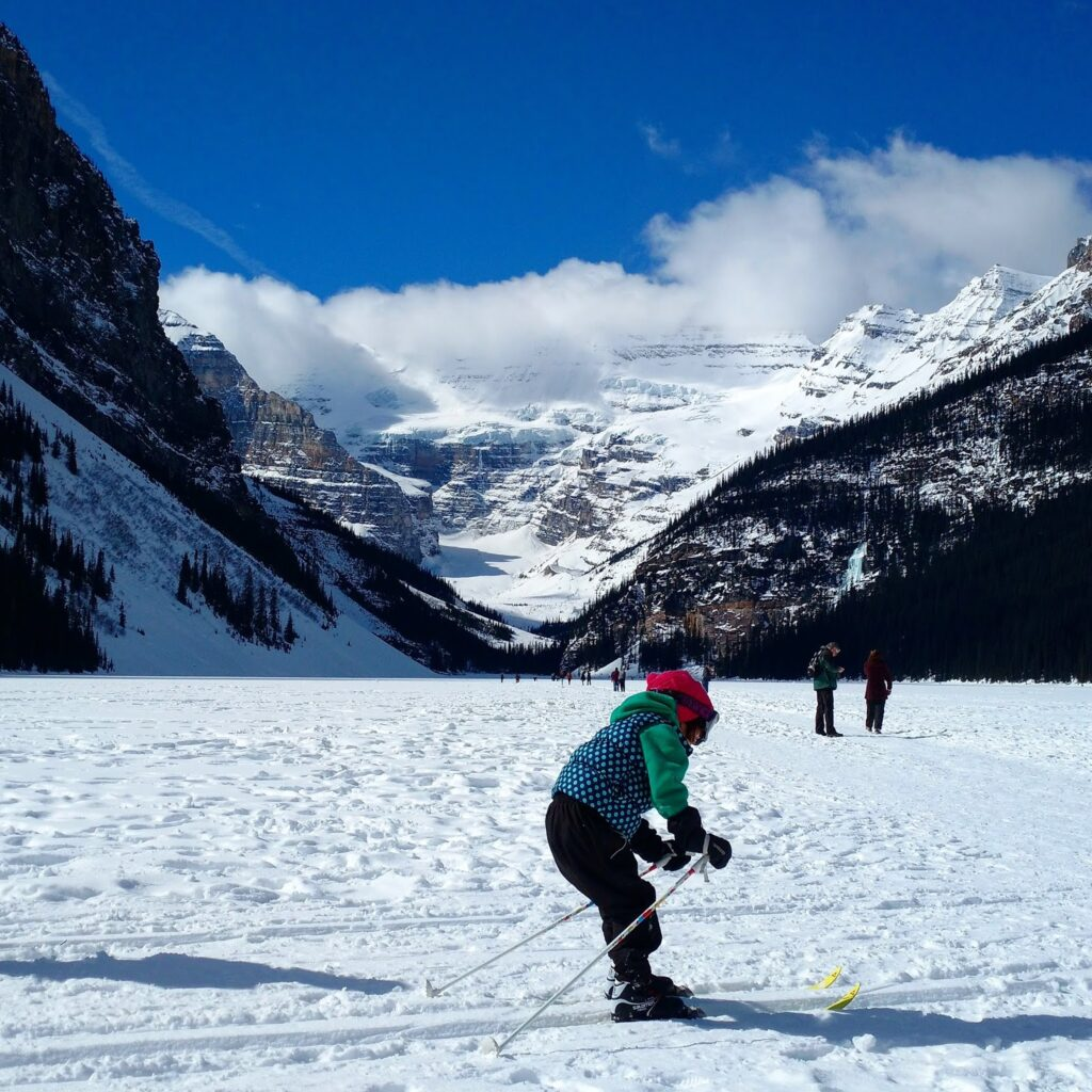Cross country skiing on Lake Louise, Banff National Park