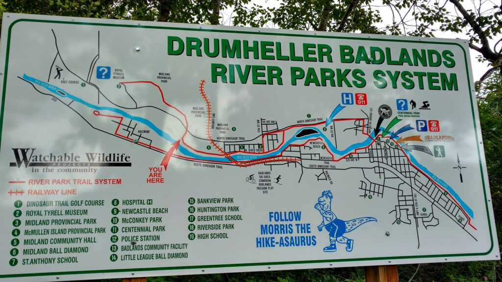 Drumheller Badlands River Parks System Map