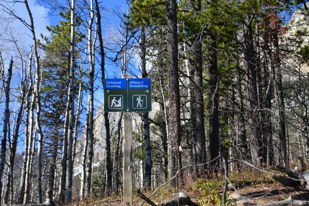 Junction for climbing and hiking trails on Mount Yamnuska