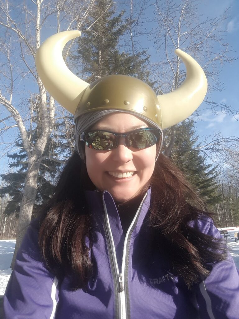 Ready for the Birkebeiner, Viking helmet and all