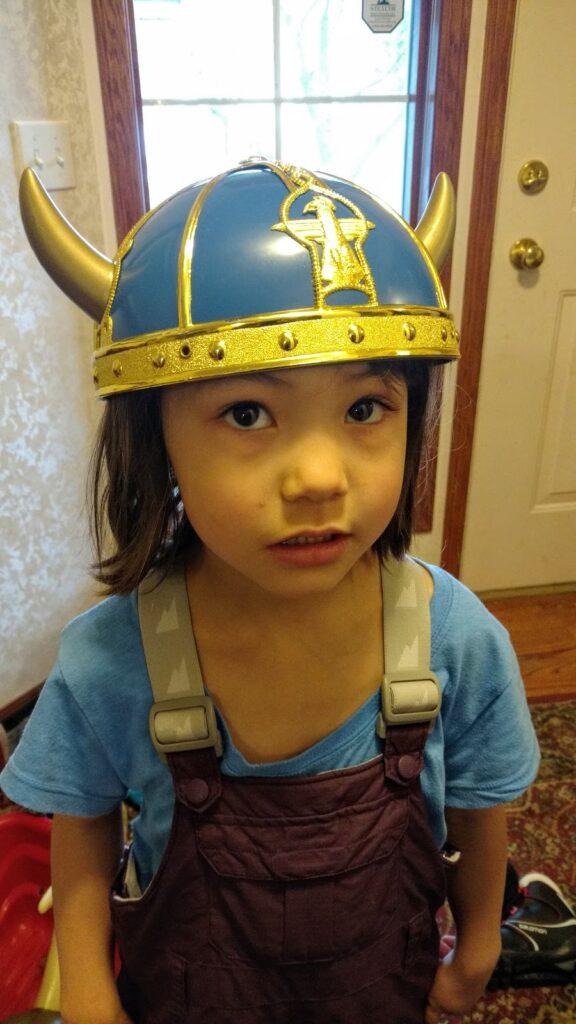 Little Birkebeiner in Viking helmet