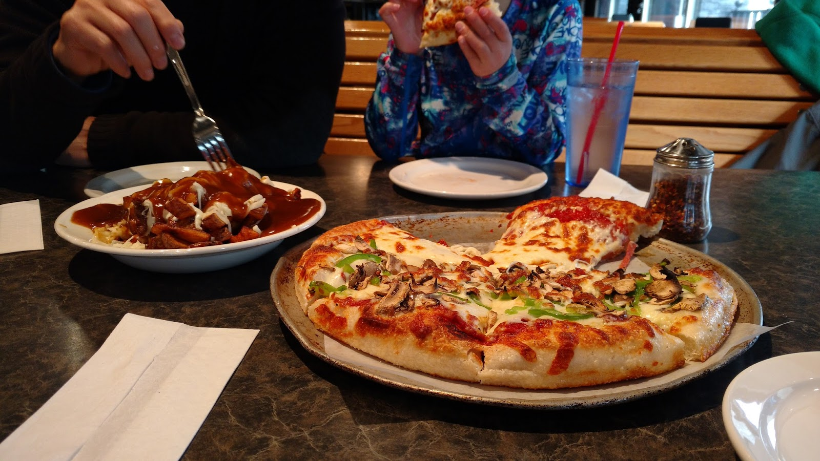 Pizza and poutine at Loulou's Pizzeria, Jasper