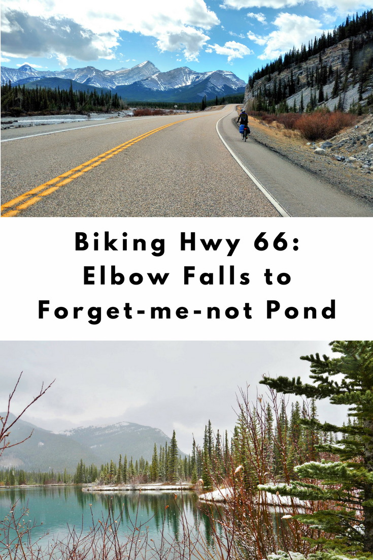 Biking Highway 66 from Elbow Falls to Forgetmenot Pond