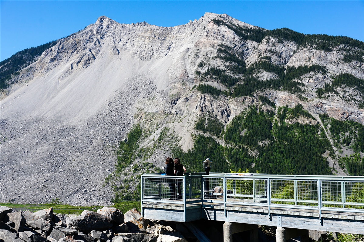 View of Turtle Mountain from Frank Slide Interpretive Centre