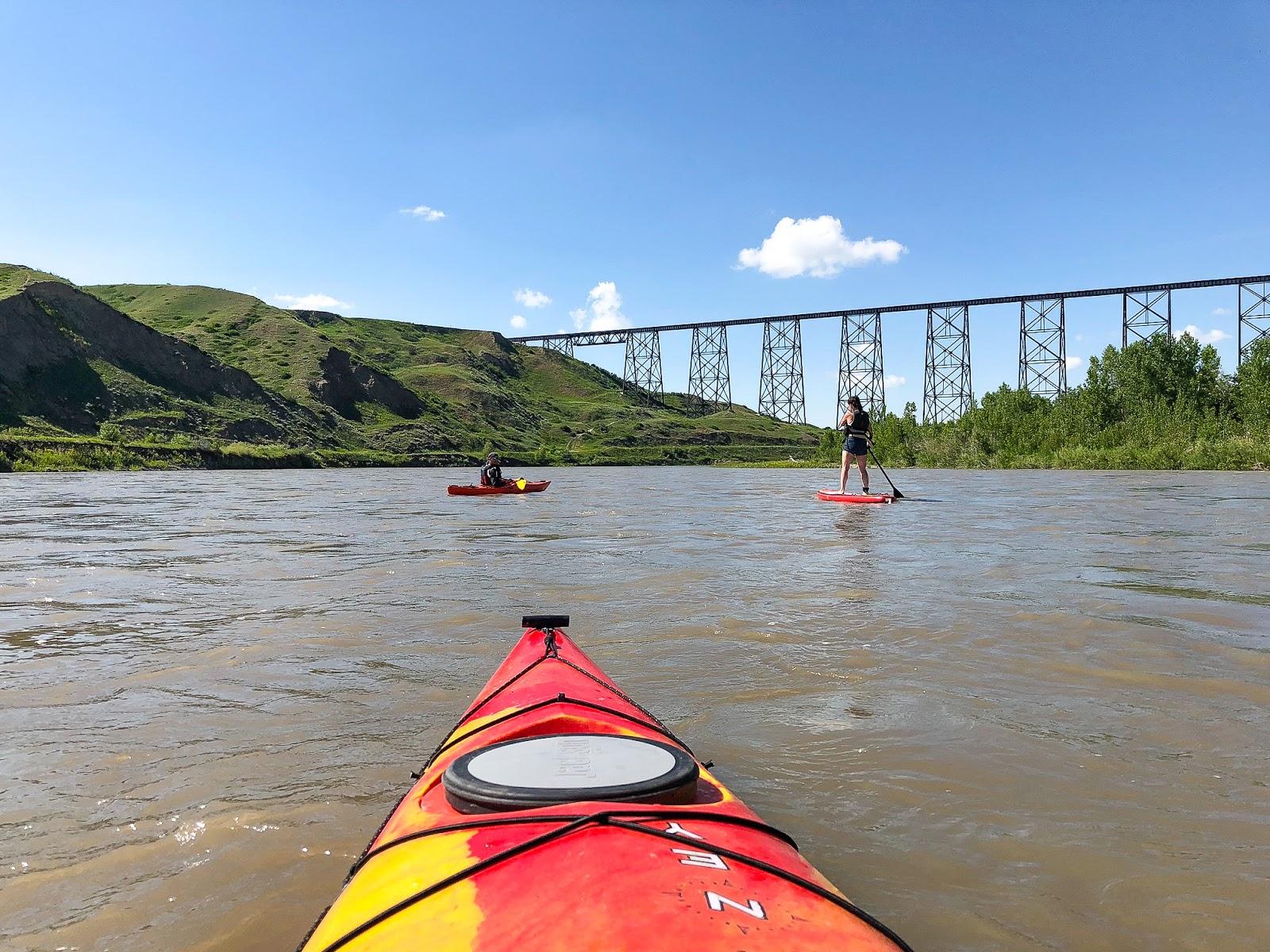 Kayaking the Old Man River in Lethbridge, Alberta