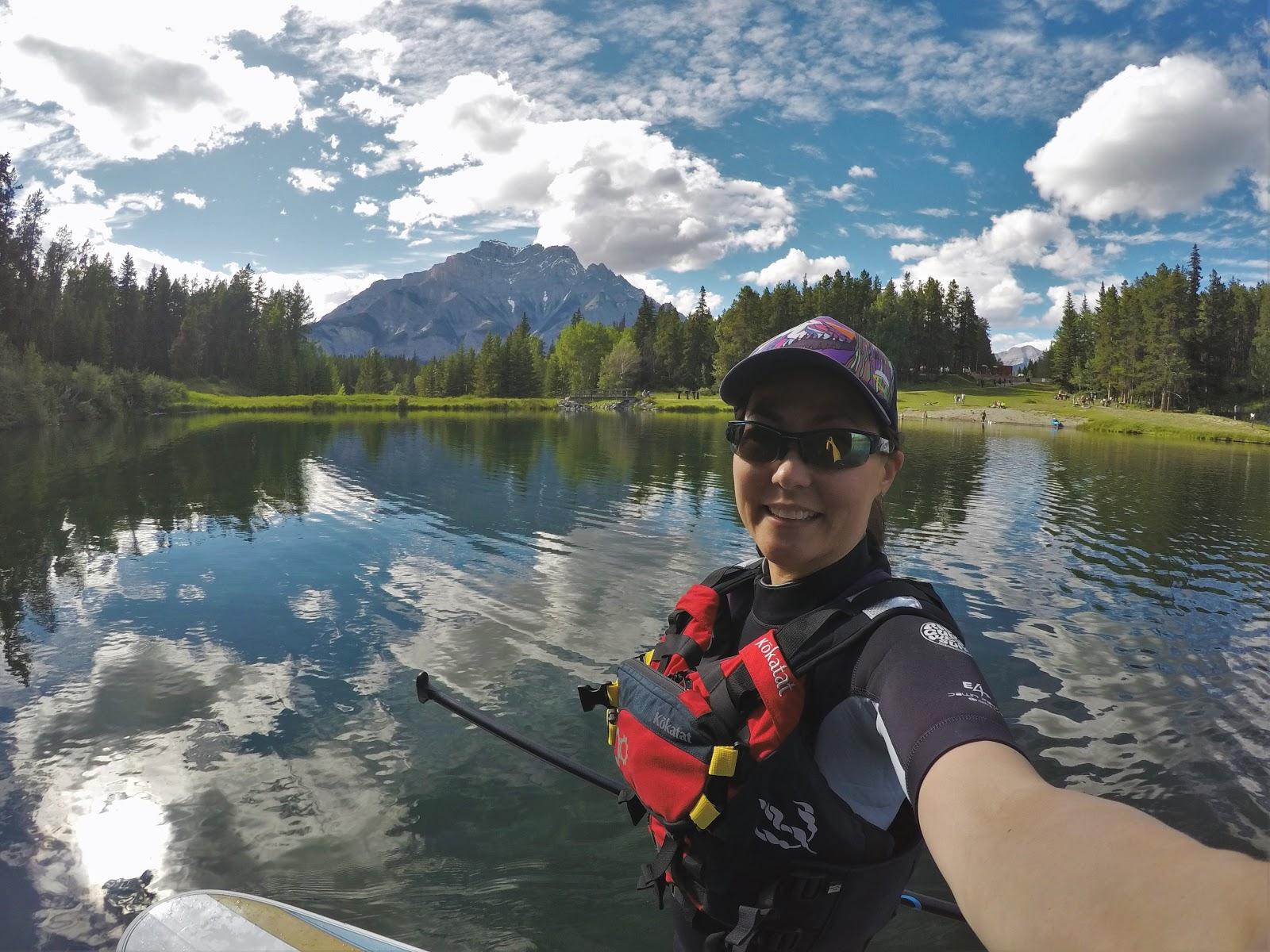 Stand-up paddleboarding at Johnson Lake, Banff