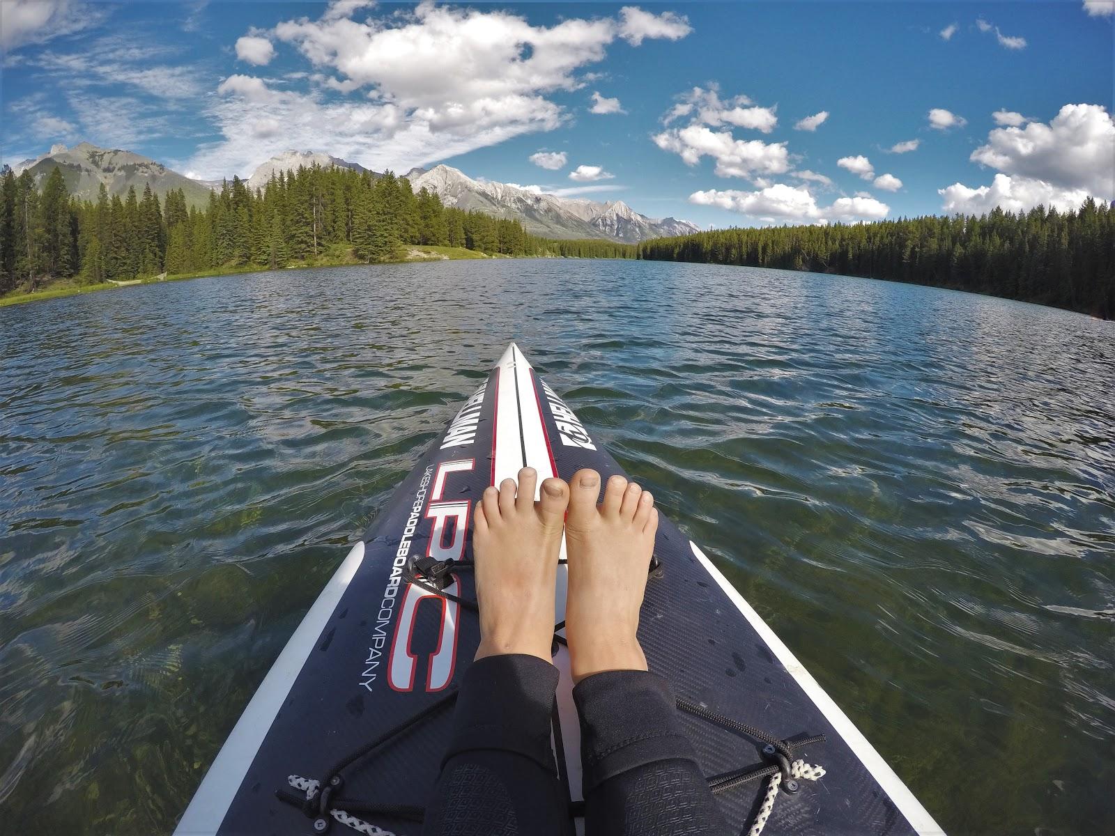 Stand-up paddle boarding at Johnson Lake, Banff