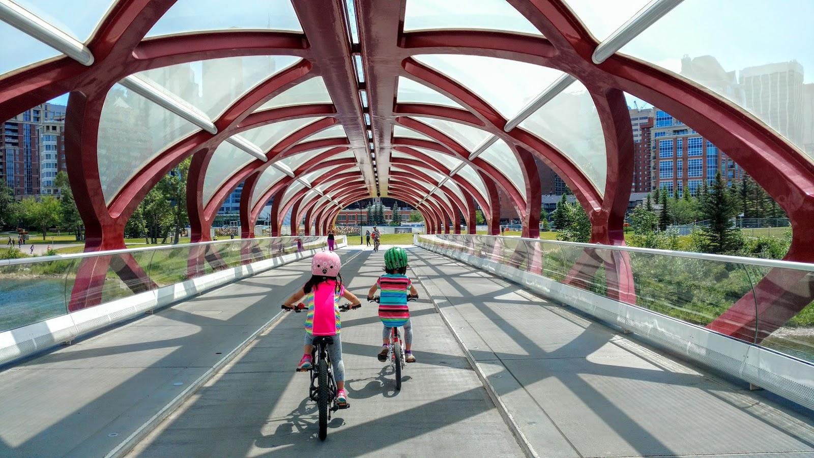 Biking across the Peace Bridge, Calgary