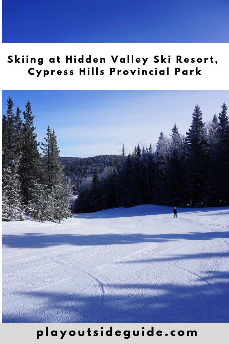 Skiing at Hidden Valley Ski Resort, Cypress Hills Pinterest pin
