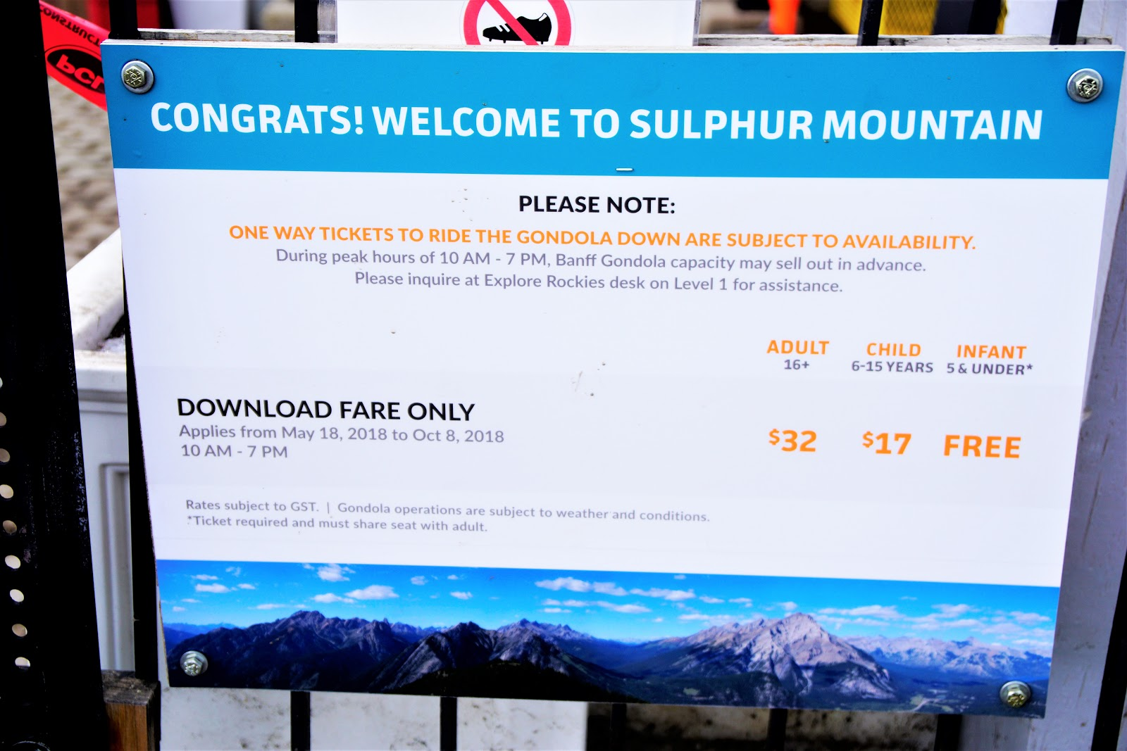 Sign re download fare at Banff Gondola Upper Terminal