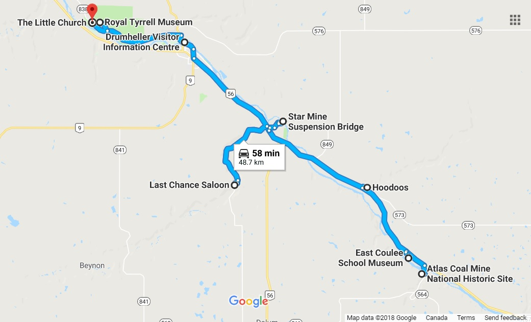 Drumheller Road Trip Map