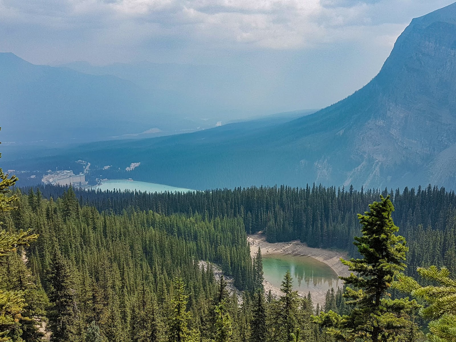 Looking down on Lake Louise (left) and Mirror Lake (right)