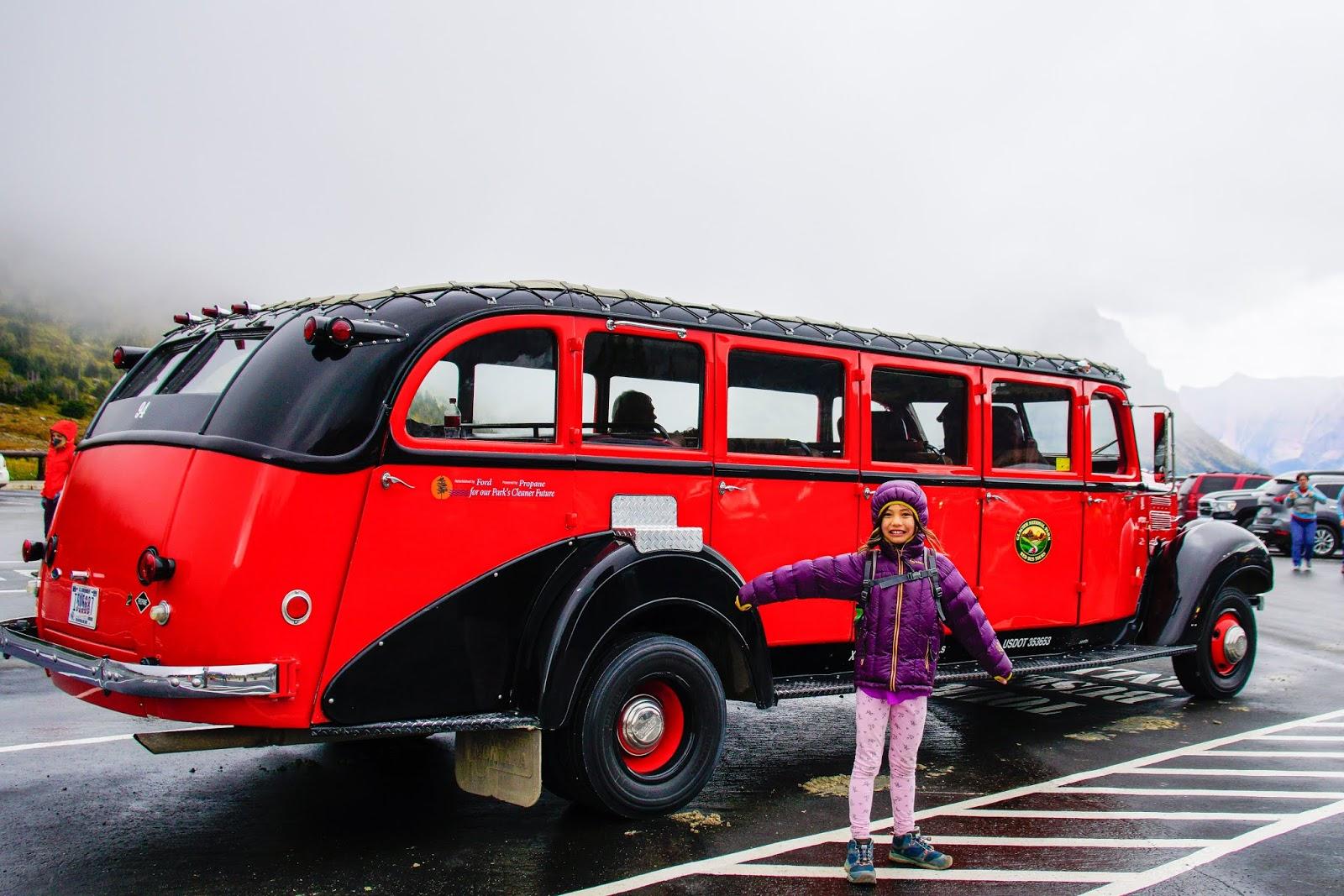"""Red Jammer"" Tour Bus, Glacier National Park"