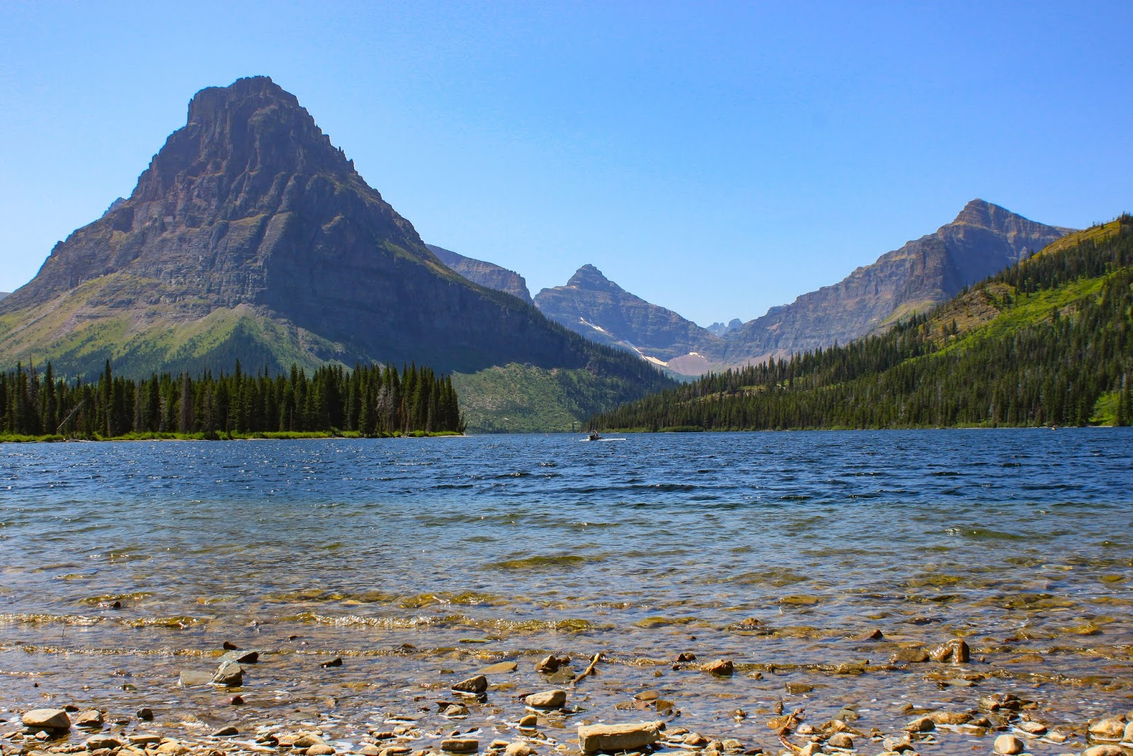 Rising Wolf Mountain (at left) and Two Medicine Lake, Glacier National Park