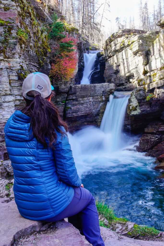 KÜHL Spyfire Down Hoody at St. Mary Falls, Glacier National Park