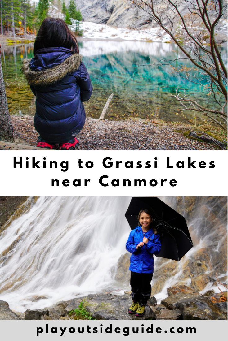 hiking to grassi lakes, canmore pinterest pin