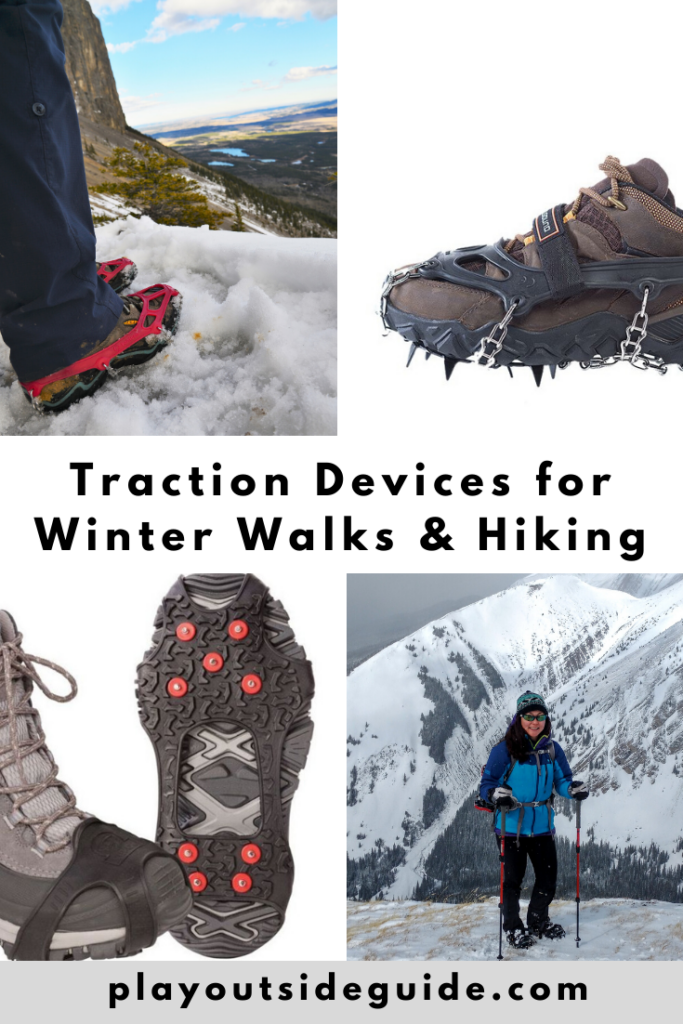 traction devices for winter walks and hiking