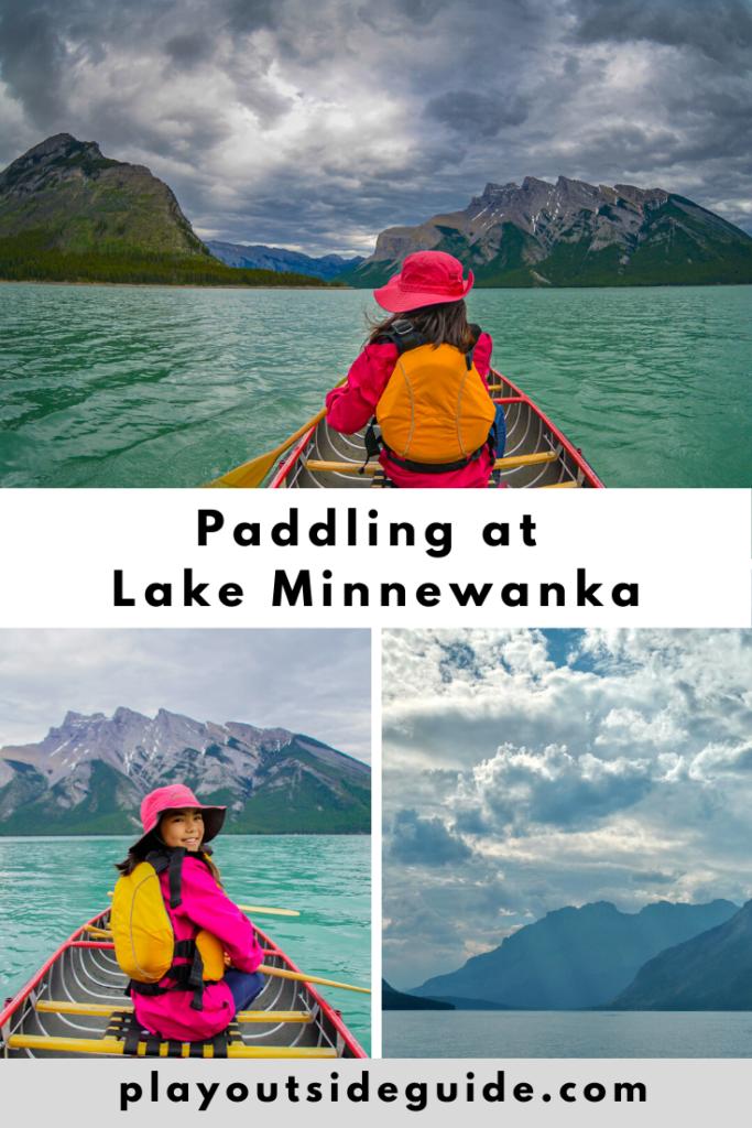 paddling at lake minnewanka pinterest pin